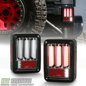 New Black 2007 2017 Jeep Wrangler Sequential Signal Full Led Tail Lights Lamps