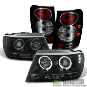 Blk Smoke 1999 2004 Jeep Grand Cherokee Led Halo Projector Headlights tail Lamps