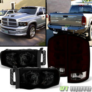 2002 2005 Dodge Ram 1500 Pickup Blk Smoke Headlights Tail Lights Brake Lamps Set