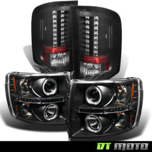 07 14 Gmt 900 Chevy Silverado Black Halo Led Projector Headlights led Tail Lamps