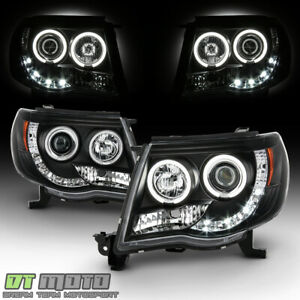 For Blk 2005 2011 Tacoma Led Drl Ccfl Halo Projector Headlights 05 11 Left right