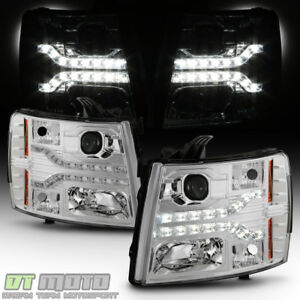 2007 2013 Chevy Silverado 1500 Dual Led Strip Drl Projector Headlamps Left Right
