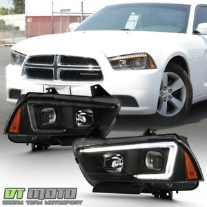 2011 2014 Dodge Charger Black Led Signal Switchback Headlights Halogen Headlamps