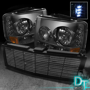 For 99 02 Silverado 00 06 Suburban Tahoe Smoked Led Headlight 2in1 Bumper Grille