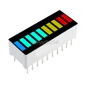 2 5 10pcs 10 Segment Blue Green Yellow Red Colorful Led Bar Graph Indicator Dip