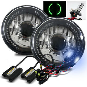 7 Round Semi Seal Black Crystal Green Led Projector Headlights 8000k H4 2 Hid