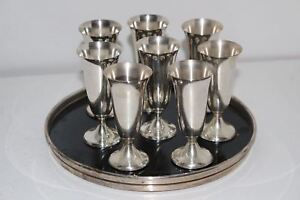 8 Gorham 951 Sterling Silver Cordial Cups Liquor Shot Glasses W Trivitray