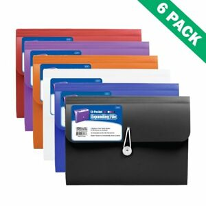 Pocket Expanding File 13 pocket Portable Expandable File Folder Organizer 6pc