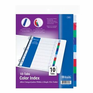 Binder Dividers 10 Colorful Tab Dividers For 3 Ring Binders