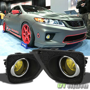 Fits 2013 2015 Accord 2dr Coupe glass Lens Yellow Bumper Fog Lights W Switch