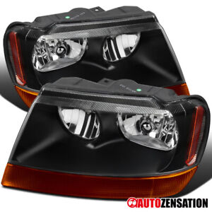 For 1999 2004 Jeep Grand Cherokee Black Headlights amber Signal Lamps Pair