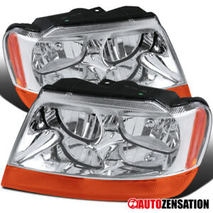 For 1999 2004 Jeep Grand Cherokee Clear Headlights Amber Turn Signal Lamps Pair