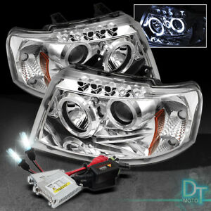6k Slim Xenon Hid 03 06 Ford Expedition 2x Halo Led Chrome Projector Headlights
