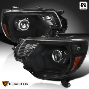 For 2012 2015 Toyota Tacoma Black Retrofit Projector Headlights Replacement Pair