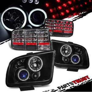 ccfl Halo 2005 2009 Mustang Black Projector Headlights Led Tail Lamps Set