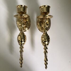 Pair Vintage Solid Brass Wall Sconces For Taper Candles 12 India Shiny Brass