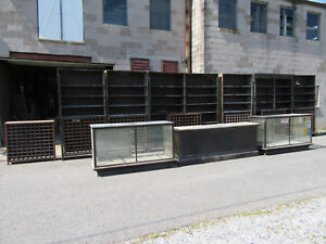 30 Feet Antique Oak General Store Cabinets With Counter And Display Cases