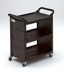 Enclosed Cart plastic black 150 Lb Rubbermaid Fg342100bla