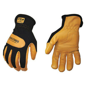 Mechanics Gloves leather blk tan l pr Youngstown Glove Co 12 3270 80 l