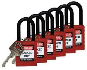 Lockout Padlock ka red 1 3 4 h pk6 Brady 123342