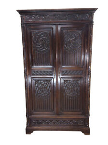 Antique French Gothic Storage Cabinet Or Armoire Oak 19th Century