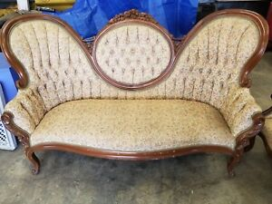 Antique Sofa Chair Floral Print Minor On Wood Trim Due To History