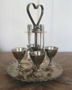 Sweetheart Epns Slver Plate 9p Egg Cruet Set Stand Spoons Cups Hallmarked