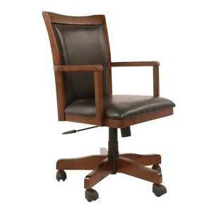 Mission Craftsman Oak Leather Executive Office Arm Chair New
