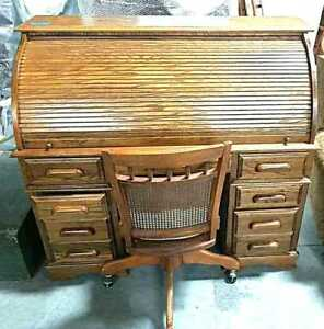 Antique Oak Slatted Roll Top Desk And Chair Very Good Condition Mid Century