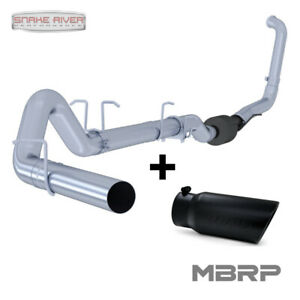 Mbrp 4 Exhaust 03 07 Ford Powerstroke Diesel 6 0l No Muffler With Black Tip
