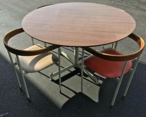 Rare Prototype Mid Century Heywood Wakefield Table Chairs 5pc Set Multi Color