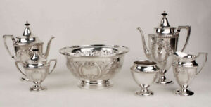 Antique Silverplate Hand Chased Tea Coffee Set 6pc Matching Serving Bowl Cresce