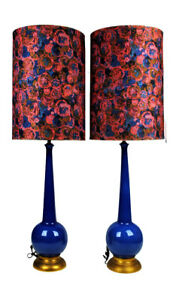 Vintage Mid Century Modern Fabulous Blue Pottery Lamps W Orbs Bubbles Blues Plum