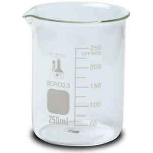 250ml Beaker Low Form Griffin Boro 3 3 Glass Karter Scientific case Of 48