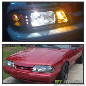 1987 1993 Mustang 6in1 Led 1pc Black Headlights W Built In Corner Parking Signal