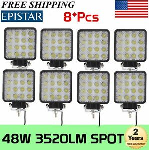 8x 48w Square Led Work Light Spot Beam Driving Fog Suv Ute Boat Offroad 12v 24v