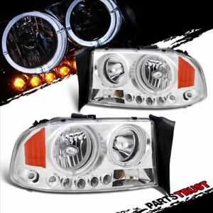 Led Dual Halo For 1997 2004 Dodge Dakota 1998 2003 Durango Chrome Headlights Set