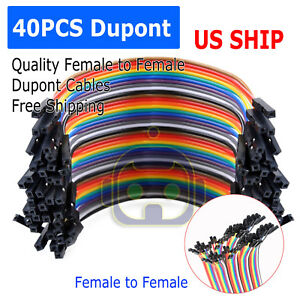 1x 40pcs Dupont Wire Jumper Cable 10cm 2 54mm Female To Female 1p 1p For Arduino