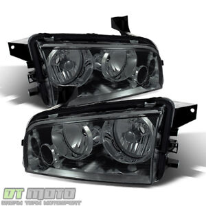 Smoked 2006 2010 Dodge Charger Replacement Headlights Headlamps 06 10 Left Right
