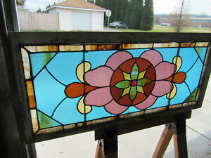 Antique Stained Glass Transom Window 48 X 22 Architectural Salvage