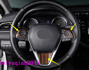 3x Peach Wood Grain Interior Steering Wheel Cover Trim For Toyota Camry 2018