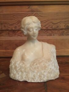 Antique Art Nouveau Alabaster Cleo Lady Bust Statue