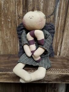 Primitive Angel Doll Candy Cane Shelf Sitter Christmas Farmhouse Rustic Decor