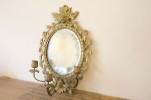 Large Italian Wall Sconce W Mirror 17 X11 Three Candlestick Holders