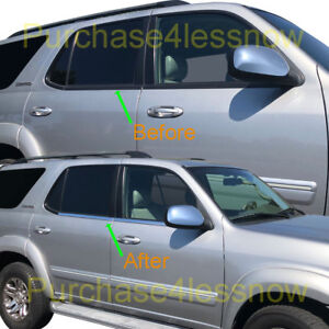 For 2001 2007 Toyota Sequoia Window Moulding Weather Strips Chrome Overlay