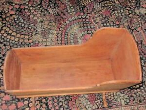 Antique 19th C Wood Cradle Display Dolls Or Stuffed Animals Bed For Cat Or Dog