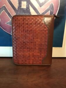 Franklin Quest Covey Woven Classic Brown Leather Binder Planner Usa