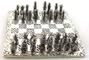 Miniature 925 Sterling Silver Chess Set Board 499
