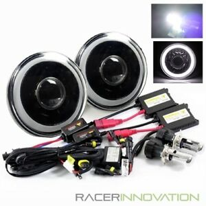 6000k Bi Xenon Hid 7 Round Black Housing 3d White Smd Ring Projector Headlights