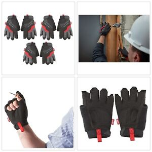 Work Gloves Fingerless Padded Palms Breathable Outdoor Glove Large 3 pack New